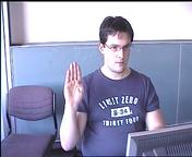 picture of camcorder view gesturing the letter 'b'